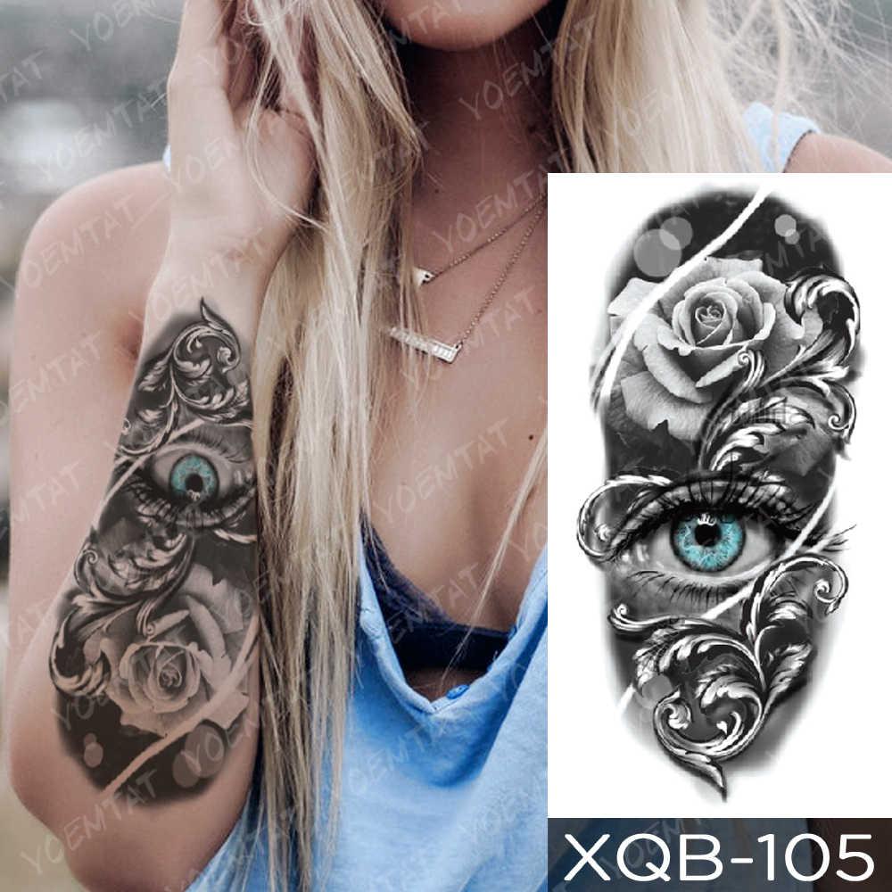 Su geçirmez geçici dövme etiket mavi gözler gül yılan kedi kılıç flaş dövme buda Mandala vücut sanatı kol sahte dövme kadınlar erkekler