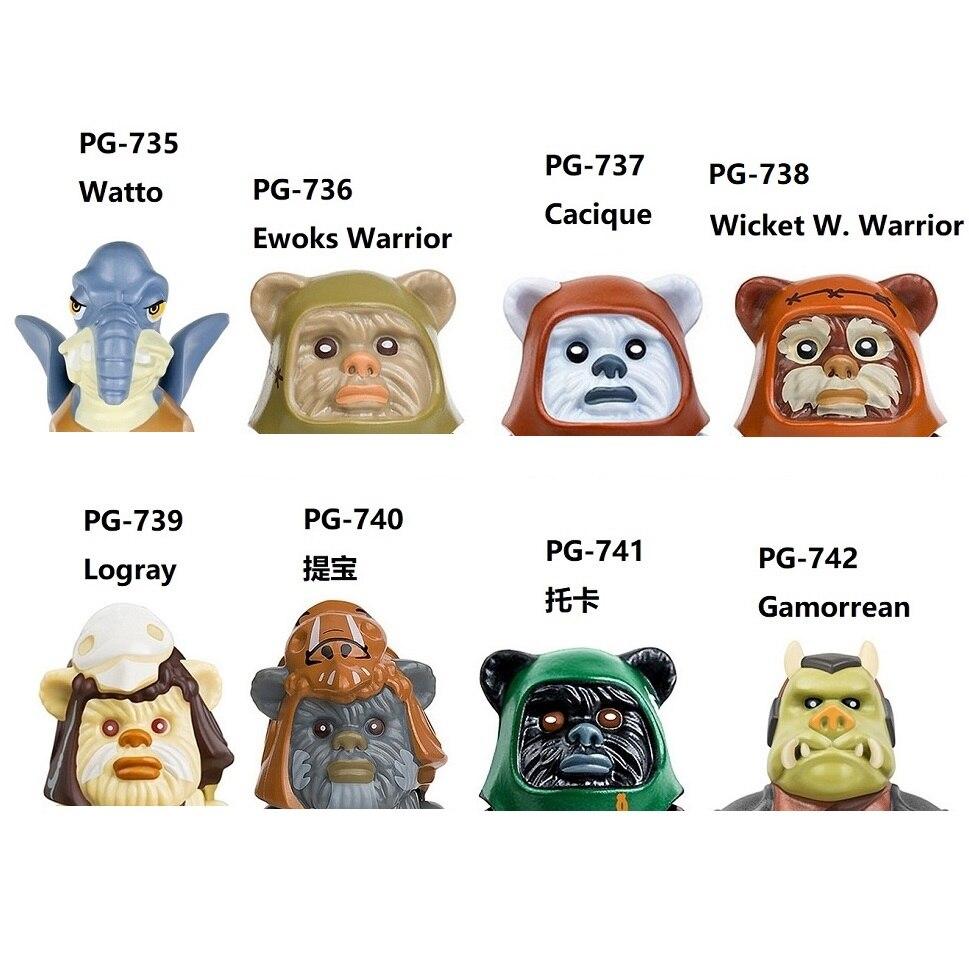 Экшн-фигурки Ewoks Watto Ewok Warrior Cacique Wicket W Warrick Wizard Logray Gamorrean Guard Blocks, мини-фигурки, игрушки