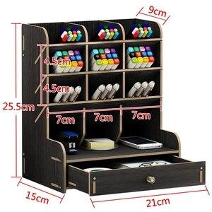 Image 2 - Multi fonction bois 13 grilles socle de bureau support cosmétique brosse boîte de rangement pour crayon stylo cosmétique brosse bijoux présentoir