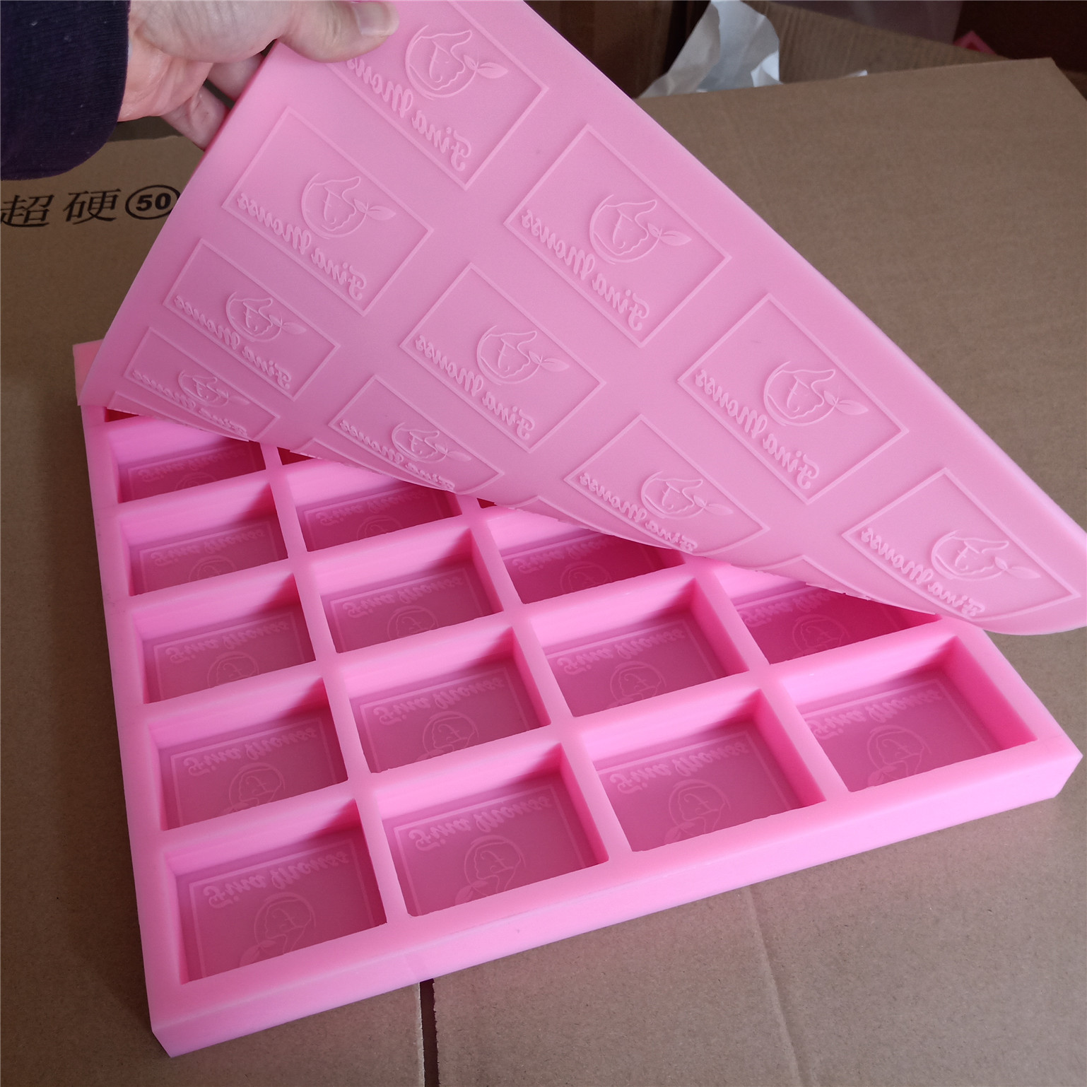 Customize Soap Mold With Lid For Both Logo 24 Cavities Custom Silicone For Cold Process Soap Making