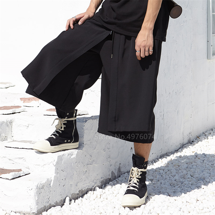Men Japan Kimono Loose Wide Leg Pant Fashion Casual Skirt Trousers Male Harajuku Hip Hop Punk Harem Pants Samurai Costume Haori