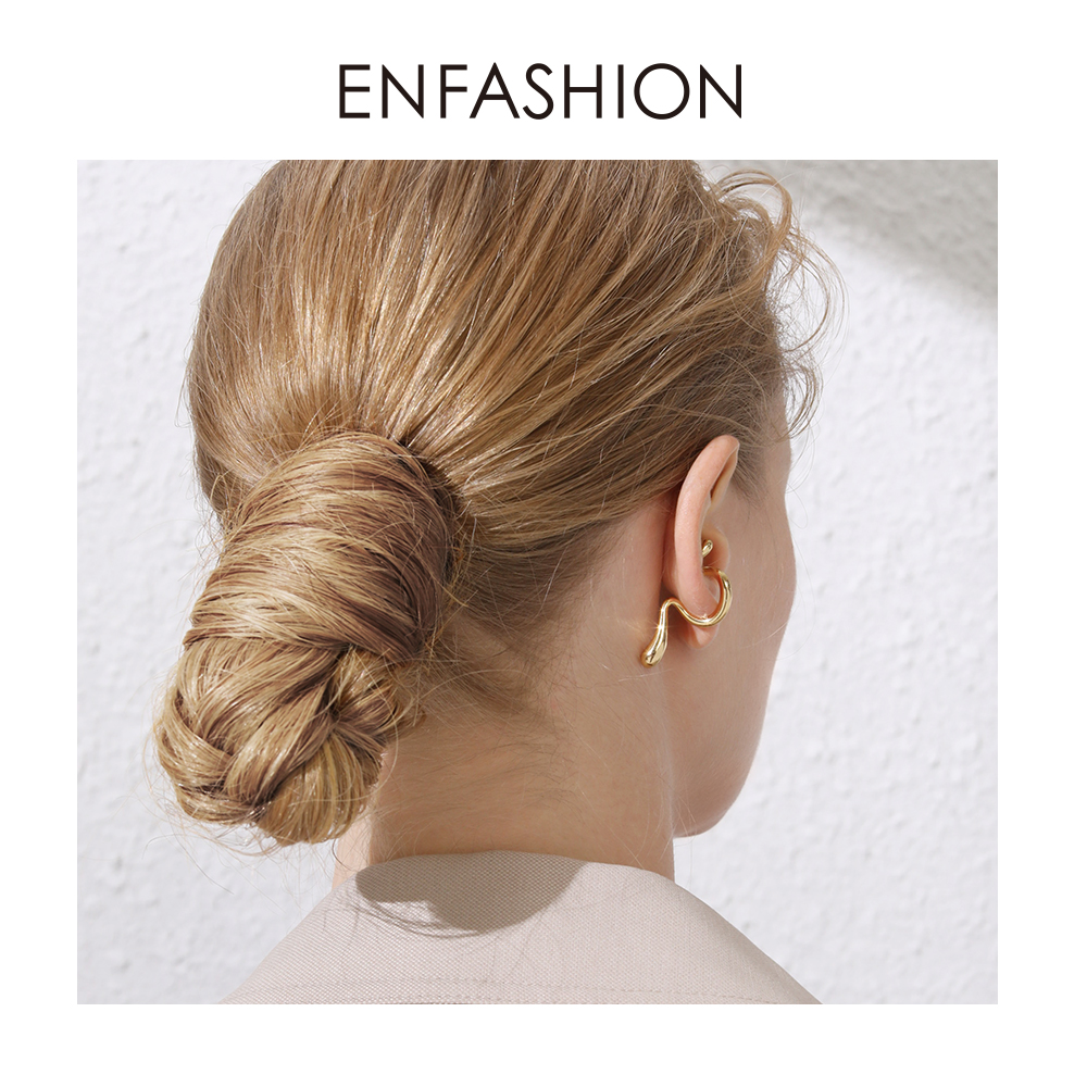 ENFASHION Punk Curve Ear Cuff Clip On Earrings For Women Gold Color Line Earings Without Piercing Jewelry Oorbellen 2019 E191078