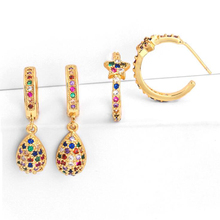 Star Hoop Earrings Mini Small Water Drop Pendant Colors Zircon Earring Trendy Fashion Jewelry Luxury Gold Color Aretes Rainbow