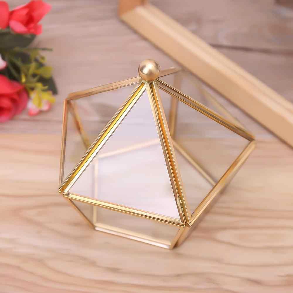 Caixa de jóias decorativas vintage geométrica terrário janela caixa de armazenamento exibição pentágono forma vidro claro