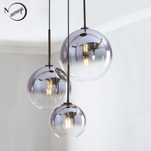 Bắc Âu hiện đại kính mặt dây chuyền LED E27 Gradient màu đèn chùm Sáng Tạo Treo đèn cho Nhà phòng ngủ phòng khách nhà hàng shop