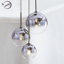 Nordic moderno luz pingente de vidro led e27 gradiente cor loft criativo lâmpada pendurada para casa quarto sala estar restaurante loja