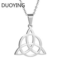 DUOYING Viking Knot Pendant Necklaces Men Stainless Steel Pendants Irish Viking Triquetra Symbol Necklace Amulet Jewelry Gift norse vikings amulet pendant necklaces hammer of thor mjolnir pendants sweater chain necklace animal wolf head viking jewelry