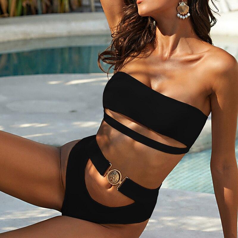Mossha, белый женский купальник, бандо, бикини, 2020, Mujer, металлическая пряжка, пояс, женский купальник бикини, женский купальник 19