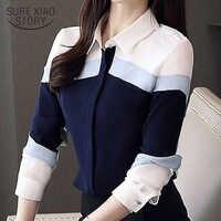 Frauen tops und blusen 2020 mode Chiffon Bluse Shirts Langarm Damen Tops Taste Gespleißt Büro Dame Plus Größe 5302 50