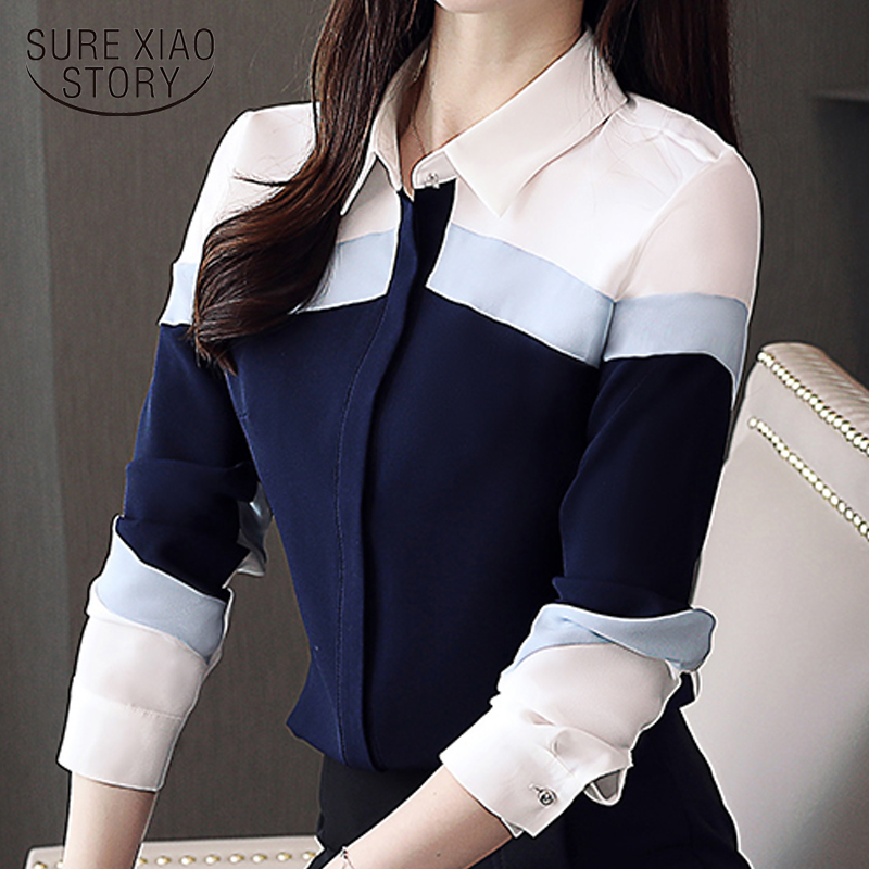 Womens Tops And Blouses 2020 Fashion Chiffon Blouse Shirts Long Sleeve Ladies Tops Button Spliced Office Lady Plus Size 5302 50