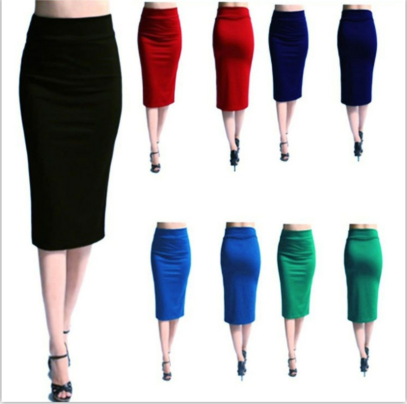 Women Slim Knee Length Skirt Mini Bodycon Skirt Office Lady High Waist Stretch Sexy Pencil Skirts Jupe Femme Skirt Sexy