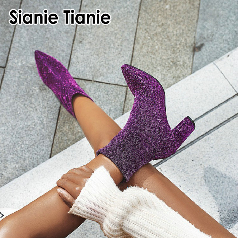 Sianie Tianie glitter bling woman stretch <font><b>boots</b></font> purple silver plaid leopard sexy sock booties <font><b>block</b></font> high <font><b>heels</b></font> women <font><b>ankle</b></font> <font><b>boots</b></font> image