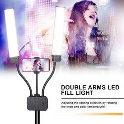Профессиональный двойной Arms светодиодный светильник, фото светильник ing, видео заполняющий светильник, светодиодная лампа для макияжа, сту...