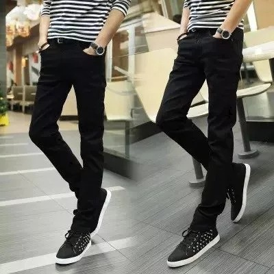 Spring And Summer Teenager Slim Fit Black Jeans Men's Korean-style Elasticity Skinny Pencil Pants Slimming Cowboy Long Pants Men