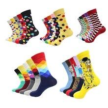 Hot sale! socks men happy 5pairs/lot autumn-winter colorful warm black sock mens high quality long cotton art