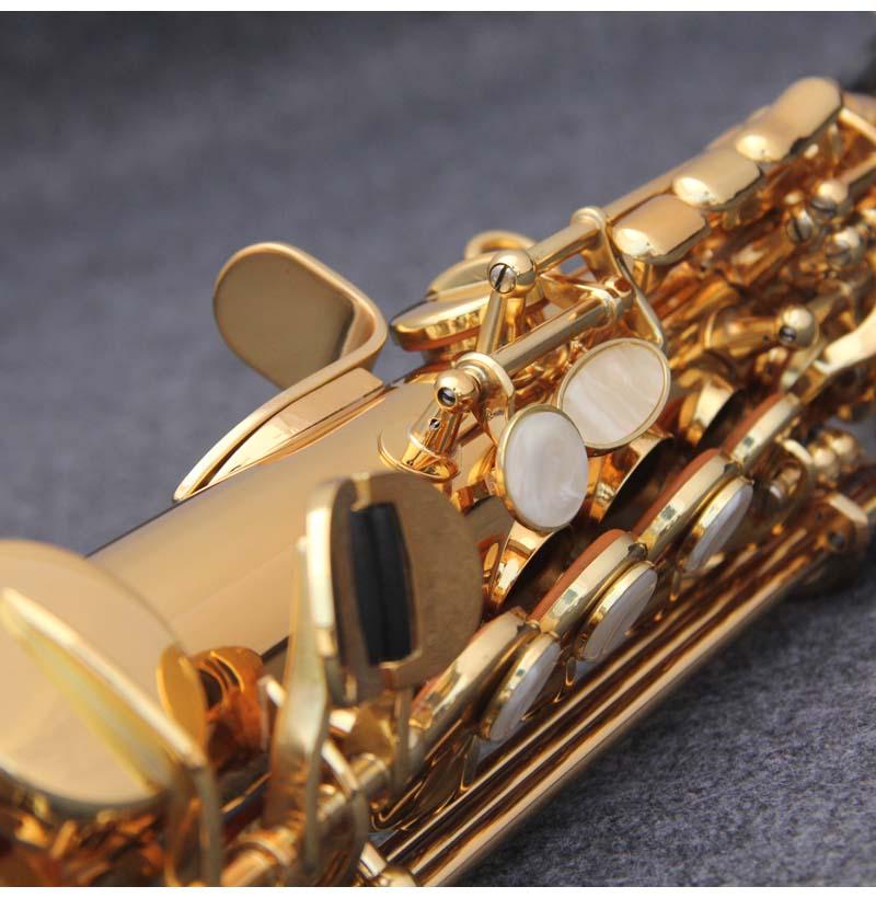 JM Сделано в Японии YSS 82Z Латунь Прямой сопрано саксофон Bb B плоский духовой инструмент натуральный корпус ключ вырезанный узор - 3