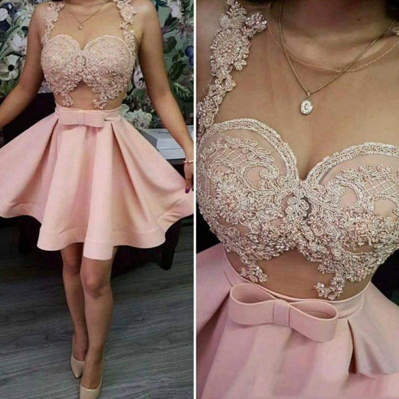 Pink Appliques Lace Cap Sleeve A-line   Cocktail     Dresses   Simple Sleeveless Knee-length Tulle Party Gown коктейльное платье