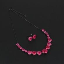 Newranos Fusion kalp şekli gerdanlık kolye seti doğal Pedra taş kolye küpe seti kadınlar için moda takı SFX0013124
