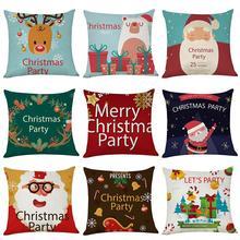 45*45CM New Christmas Pillow Cover Red Merry Christmas Printed Polyester Santa Claus Cushion Pillowcase Xmas