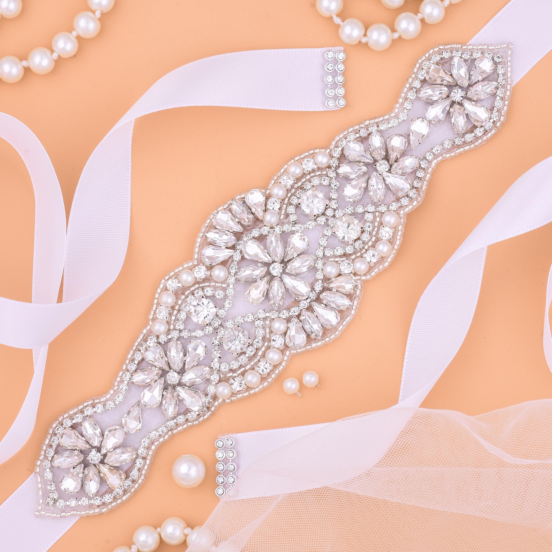 Bridal Belt Silver Rhinestone Wedding Belts Crystal Sash For Wedding Accessories And Bridesmaid Dress Belt J119S