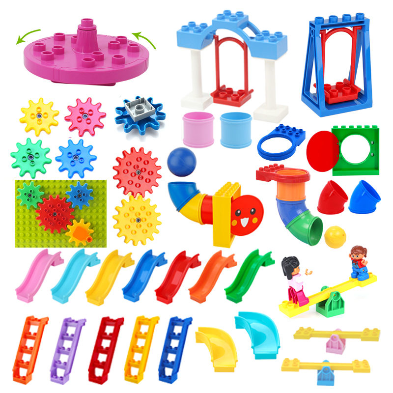 Big Building Blocks Pipeline Playground Spin Parts Slide Ladder Gear Swing Compatible Bricks Baby Assemble Interactive Toys Gift