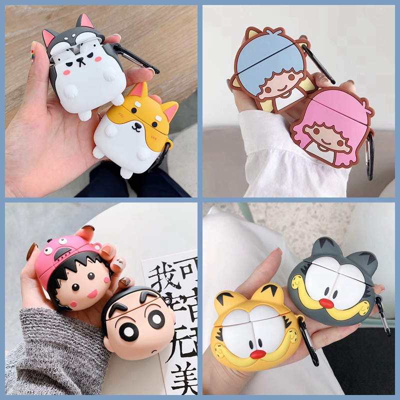For AirPods Case 3D Cute Dog Garfield Pig Bear Earphone Case For Airpods 2/i10/i11 TWS Soft Protect Cover With Carabiner Hook