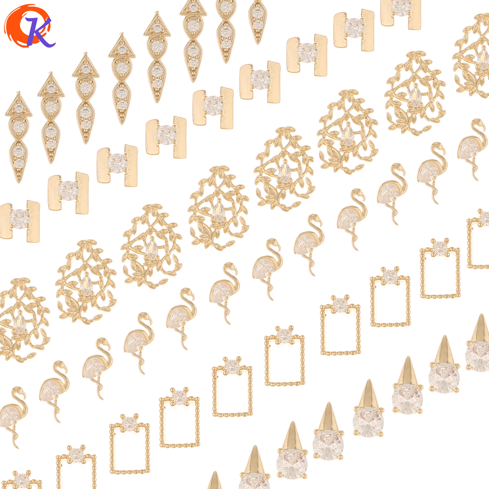 Cordial Design 100Pcs Jewelry Accessories/DIY Making/Genuine Gold Plating/Fingernail Findings/Cubic Zirconia Charms/Decoration