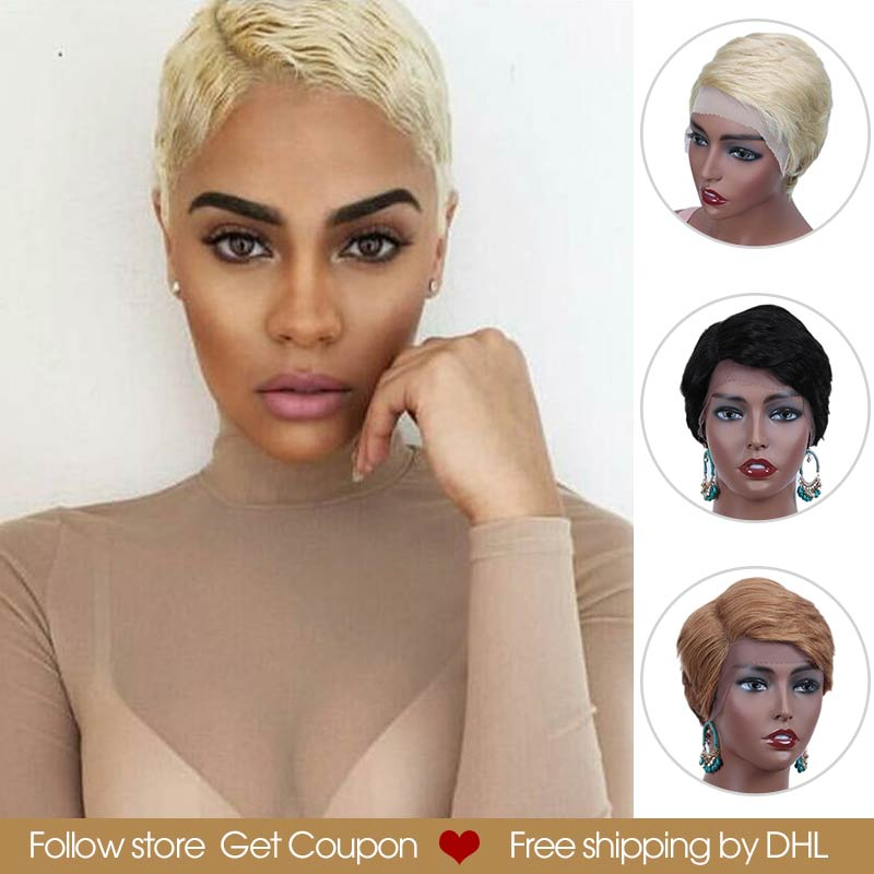 Rebecca Short Straight Lace Front Human Hair Wigs For Women Straight Pixie Cut Wigs Pre Plucked 613 Blonde Pink Burgundy 99J