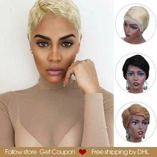 Rebecca Short Straight Lace Front Human Hair Wigs For Women pixie cut wigs Pre Plucked 613 Blonde Pink Burgundy 99J