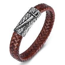 Mozo Мода 2020 новые мужские браслеты из кожи нержавеющая сталь