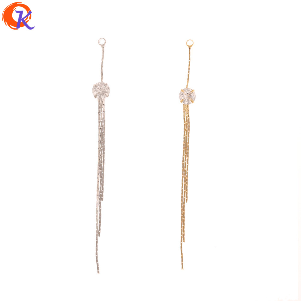 Cordial Design 20Pcs 5*65MM Jewelry Making/CZ Chain/DIY Earrings Connectors/Genuine Gold Plating/Hand Made/Earring Findings