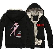 Ballet Elegant Dancer Eat Sleep Ballet Nothing Else Matters Man Boy Parkas Full Zip Coat Plus Velvet Autumn Winter ZIIART
