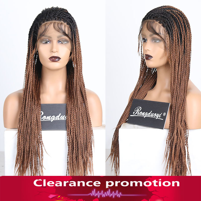 RONGDUOYI Long Ombre Brown Hair Synthetic Lace Front Wig Two Tone Dark Brown 2X Twist Braids Wigs For Women Glueless Lace Wig