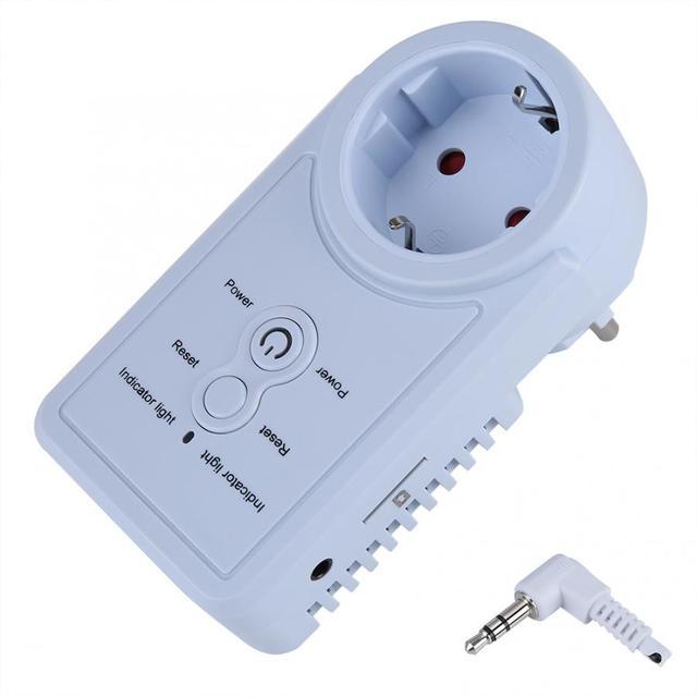 חכם GSM תקע לשקע חכם מתג שקע חשמל תקע שקע withTemperature חיישן SMS פקודת בקרת האיחוד האירופי Plug