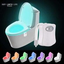 Унитаз ночной Светильник Смарт разноцветные светодиоды сиденье для унитаза светильник Водонепроницаемый Подсветка RGB для туалета ванной комнаты светильник s