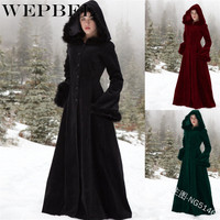 WEPBEL Women Winter Coat Fur Hooded Vintage Retro Casual Solid Color Slim New Fashion Lady Long Wool Coats