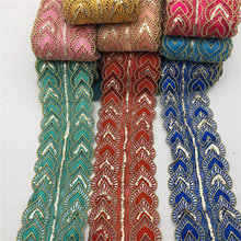 10yards Metallic Embroidered Motif Glitter power Nigeria Venice Lace Trim Crochet Cord 9.5cm wide
