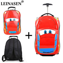 Children's Suitcase Child Trolley case Luggage Bag kids Schoolbags travel Suitcase Wheels 3D Supercar Travel case Toys for kinds(China)