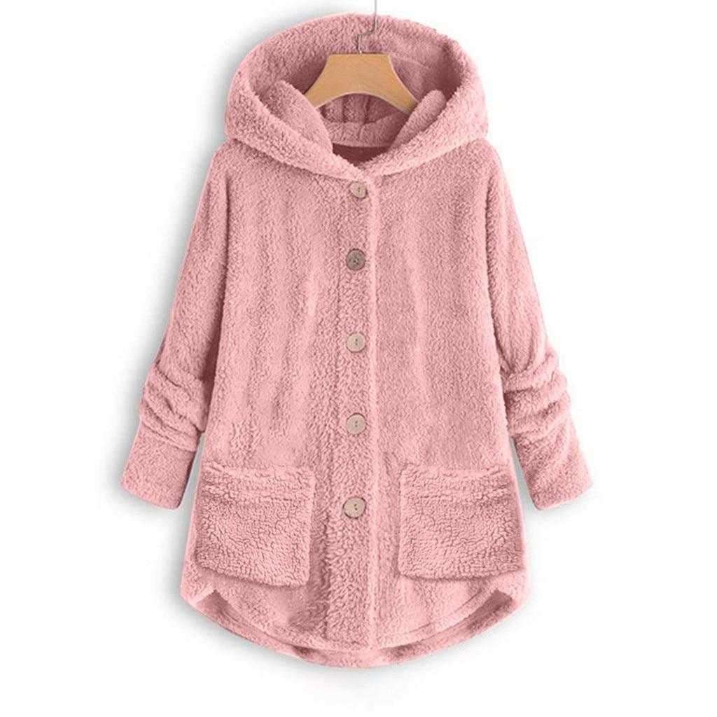 Winter Women Casual Fur Jacket Fluffy Oversized Loose Hooded Warm Long Coat Plus Size Female Button Pockets Plush Outwears #1016