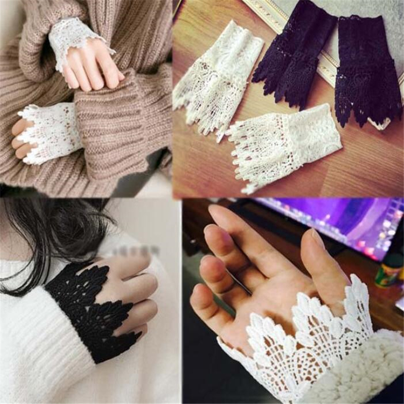 New Women Fake Arm Sleeves Organ Pleated Cuff Korean Beautiful Goddess Lace Hollow Hook Accessories Outdoor Apparel Arm Warmers