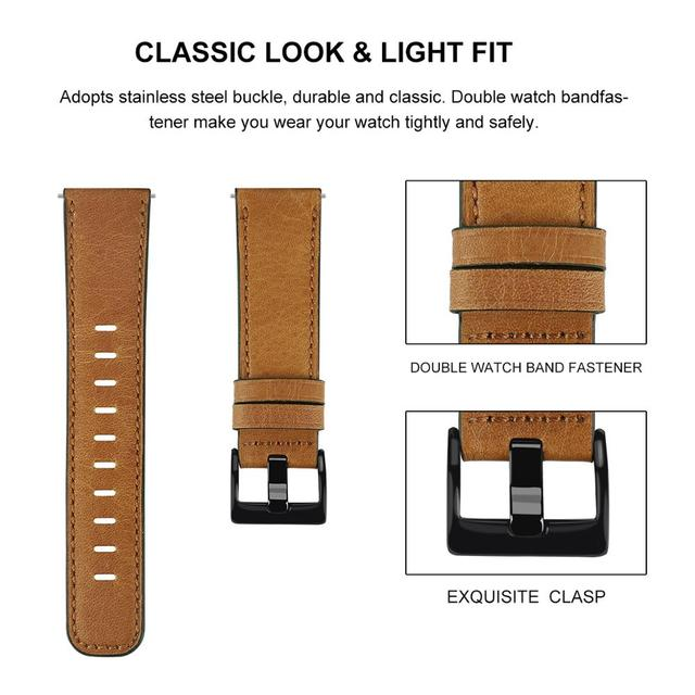 22mm watch strap For Huawei watch gt 2/2e strap samsung Galaxy watch 3 45/46mm leather correa Amazfit PACE GTR /Gear S3 frontier 3