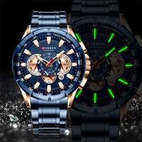 CURREN Luxury Brand Men's Watch Blue Quartz Wristwatch Sports Chronograph Clock Male Stainless Steel Band Fashion Business Watch