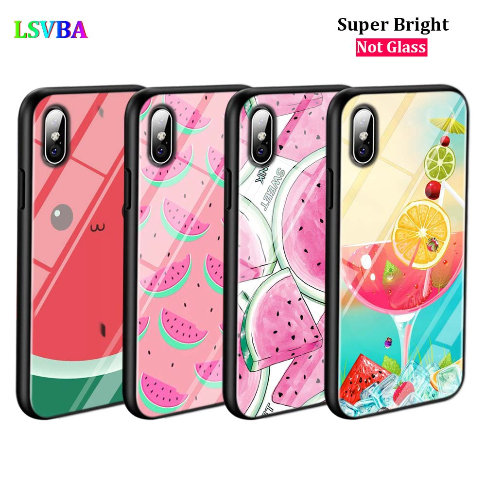 Black Cover Summer Fruit Fashion for iPhone X XR XS Max for iPhone 8 7 6 6S Plus 5S 5 SE Super Bright Glossy Phone Case in Fitted Cases from Cellphones Telecommunications