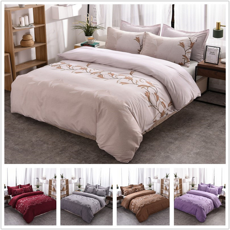 Floral Bedding Sets Polyester Simple Flower Pattern Reactive Printing Queen King Size Duvet Cover Set Pillowcases 80174