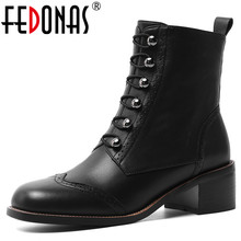 FEDONAS Women Classic Square Toe Ankle Boots Winter Warm Genuine Leather Brogue Boots Party Casual Shoes Woman New High Heels
