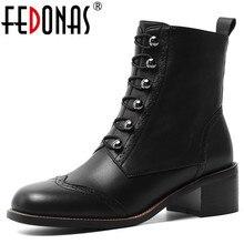 FEDONAS kobiety klasyczne kwadratowe Toe botki zimowe ciepłe brogsy z prawdziwej skóry buty Party obuwie kobieta nowe wysokie obcasy