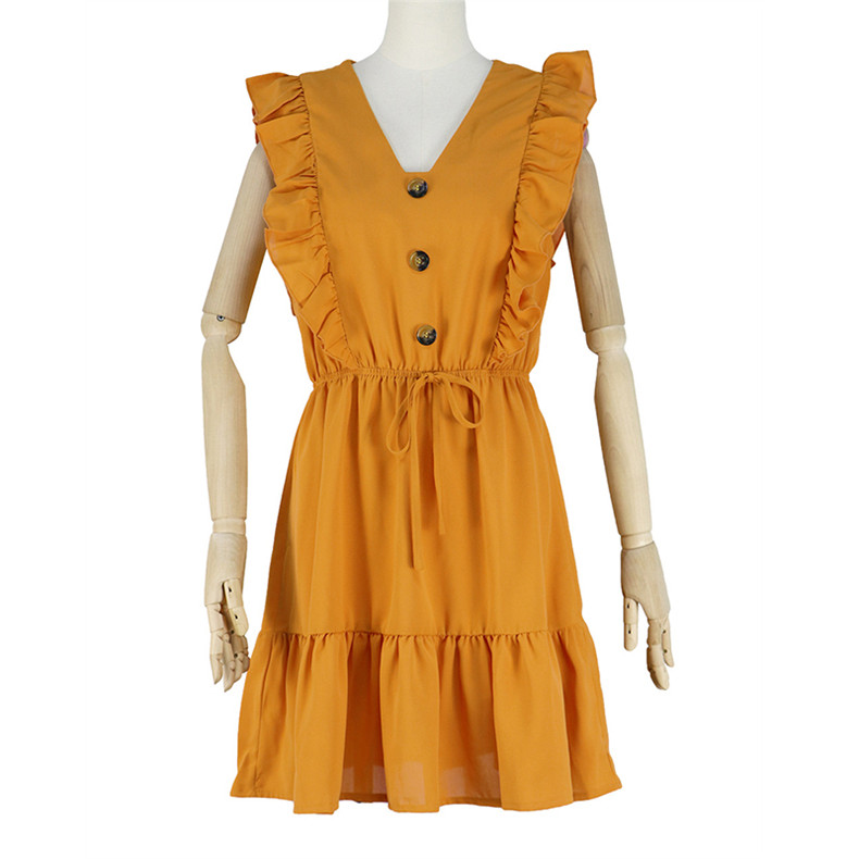 Ruffle Off Shoulder High Waist V Neck Casual Boho Beach Yellow Dress 2