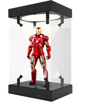 Acrylic Display Case Self-Install Clear Cube Box With turntable LED Lights Dustproof for Action figures