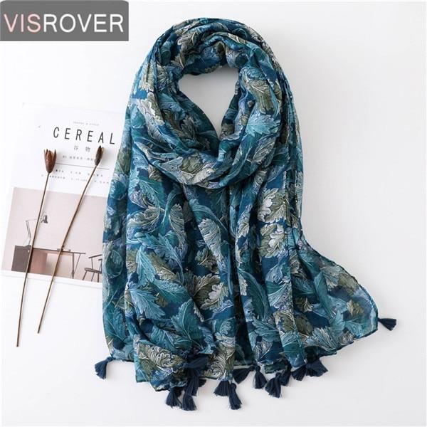 VISROVER Fashion Summer Women Scarf Luxury Brand Shawls Foulard Beach Scarf Tassel Cover-ups Wraps Flower Printing Hijab Scarf