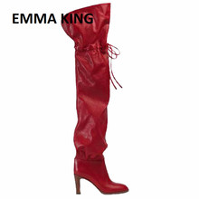 EMMA KING Fashion Pointy Toe Over the Knee Heel Boots Club Party Shoes Thigh High Pointed Woman Boot Botas For Women